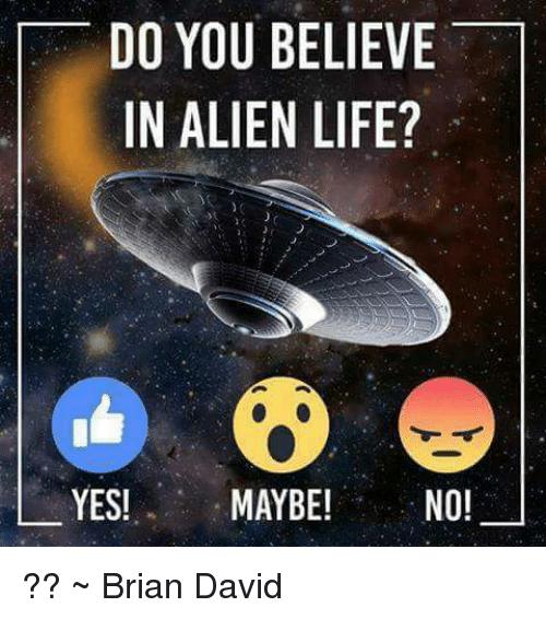 Memes, Aliens, and Alien: DO YOU BELIEVE  IN ALIEN LIFE?  YES!  MAYBE!  NO! ?? ~ Brian David