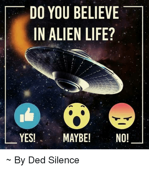 Life, Memes, and Alien: DO YOU BELIEVE  IN ALIEN LIFE?  YES!  MAYBE!  NO! ~ By Ded Silence