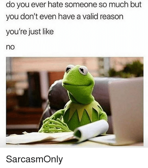 Funny, Memes, and Reason: do you ever hate someone so much but  you don't even have a valid reason  you're just like  no SarcasmOnly