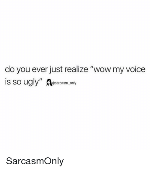 """Funny, Memes, and Ugly: do you ever just realize """"wow my voice  is so ugly"""" R  @sarcasm only SarcasmOnly"""
