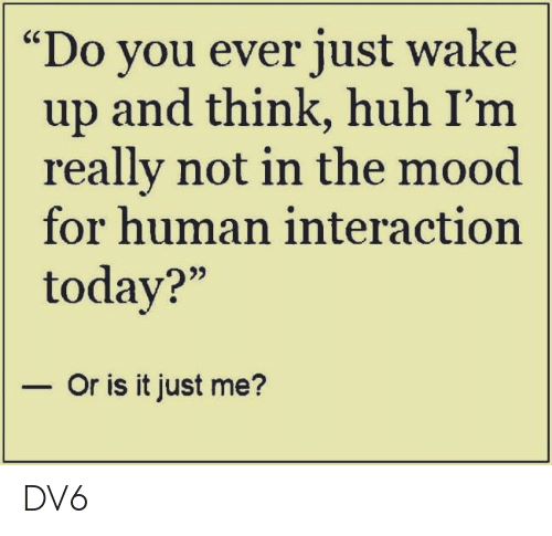 """or is it just me: Do you ever just wake  up and think, huh I'm  really not in the mood  for human interaction  today?""""  - Or is it just me? DV6"""