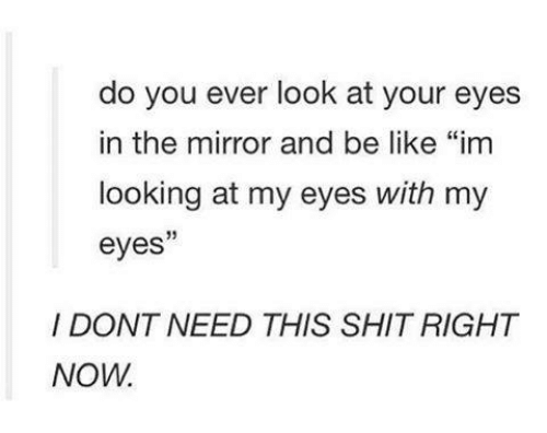"""the mirror: do you ever look at your eyes  in the mirror and be like """"im  looking at my eyes with my  eyes  I DONT NEED THIS SHITRIGHT  NOW."""