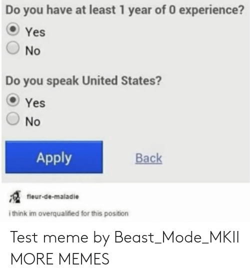 Beast Mode: Do you have at least 1 year of 0 experience?  Yes  O No  Do you speak United States?  OYes  O No  Apply  Back  fieur-de-maladie  think im overqualified for this position Test meme by Beast_Mode_MKII MORE MEMES