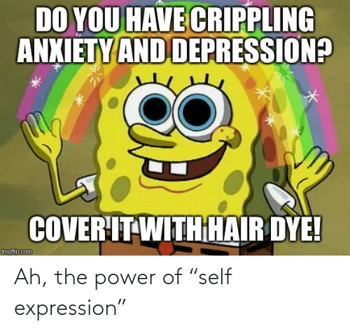 """Crippling Anxiety: DO YOU HAVE CRIPPLING  ANXIETY AND DEPRESSION?  COVER'IT WITHHAIR DYE!  imgflip.com Ah, the power of """"self expression"""""""