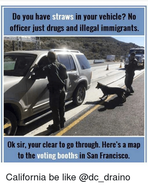 Be Like, Drugs, and Memes: Do you have straws in your vehicle? No  officer just drugs and illegal immigrants.  Ok sir, your clear to go through. Here's a map  to the  voting booths  in San Francisco. California be like @dc_draino