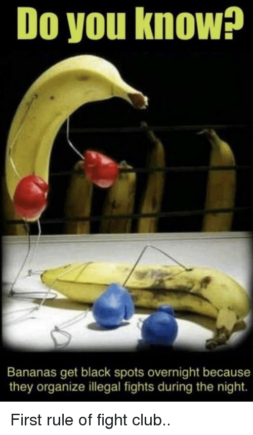 Fight Club: Do you know?  Bananas get black spots overnight because  they organize illegal fights during the night. First rule of fight club..