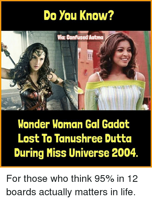 Confused, Life, and Memes: Do You Know?  Via: Confused Aatma  Wonder Woman Gal Gadot  Lost To Tanushree Dutta  During Miss Universe 2004 For those who think 95% in 12 boards actually matters in life.