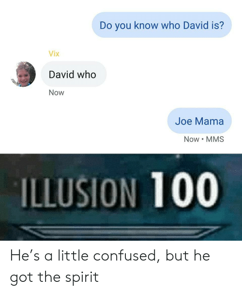you-know-who: Do you know who David is?  Vix  David who  Now  Joe Mama  Now MMS  ILLUSION 100 He's a little confused, but he got the spirit