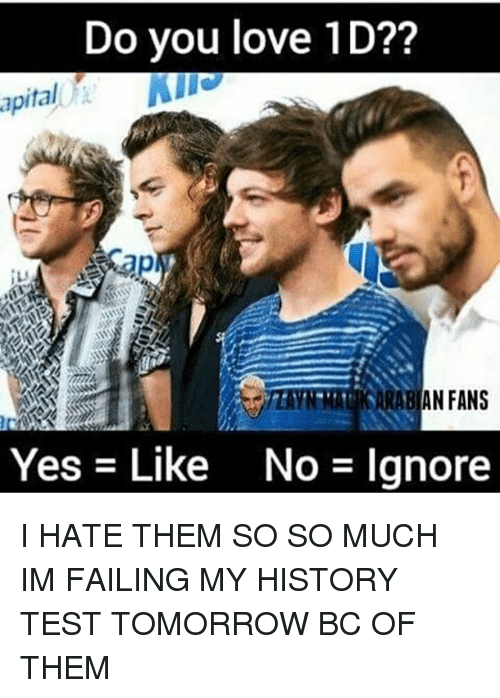 Test Tomorrow: Do you love 1D??  apital  Yes Like No Ignore I HATE THEM SO SO MUCH IM FAILING MY HISTORY TEST TOMORROW BC OF THEM