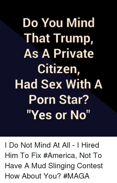 "America, Memes, and Sex: Do You Mind  That Trump,  As A Private  Citizen,  Had Sex With A  Porn Star?  ""Yes or No"" I Do Not Mind At All - I Hired Him To Fix #America, Not To Have A Mud Slinging Contest How About You? #MAGA"