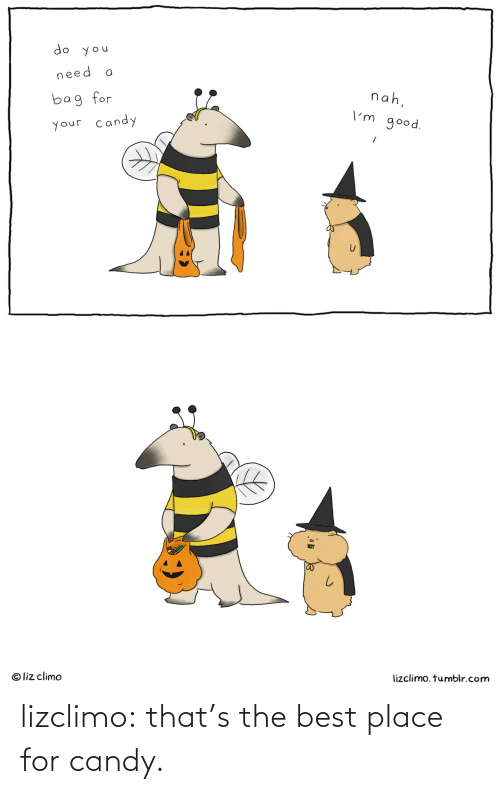 Liz Climo: do you  need  nah,  bag for  I'm good.  your candy  lizclimo. tumblr.com  © liz climo lizclimo:  that's the best place for candy.