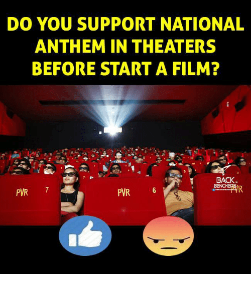 pwr: DO YOU SUPPORT NATIONAL  ANTHEM IN THEATERS  BEFORE START A FILM?  BACK  BENCHE  PWR 7  PVR