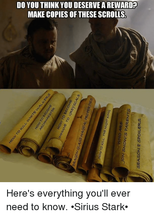 Starked: DO YOU THINK YOU DESERVE A REWARD?  MAKE COPIES OF THESE SCROLLS  0)  V) Here's everything you'll ever need to know. •Sirius Stark•
