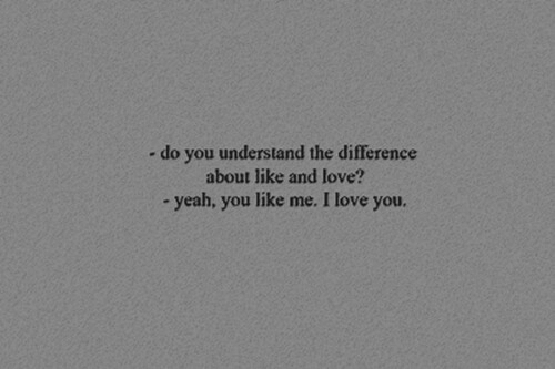 do you understand: -do you understand the difference  about like and love?  - yeah, you like me. I love you.