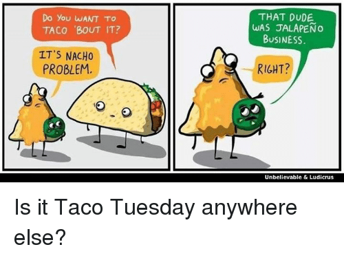 Jalapeno Business: Do you WANT TO  TACO 'BOUT IT?  IT'S NACHO  PROBLEM.  THAT DUDE  WAS JALAPENo  BUSINESS.  RIGHT?  Unbelievable & Ludicrus Is it Taco Tuesday anywhere else?