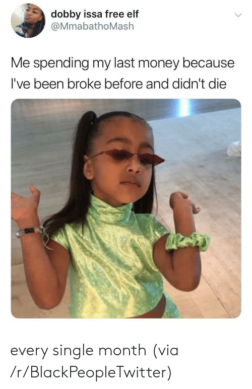 issa: dobby issa free elf  @MmabathoMash  Me spending my last money because  I've been broke before and didn't die every single month (via /r/BlackPeopleTwitter)