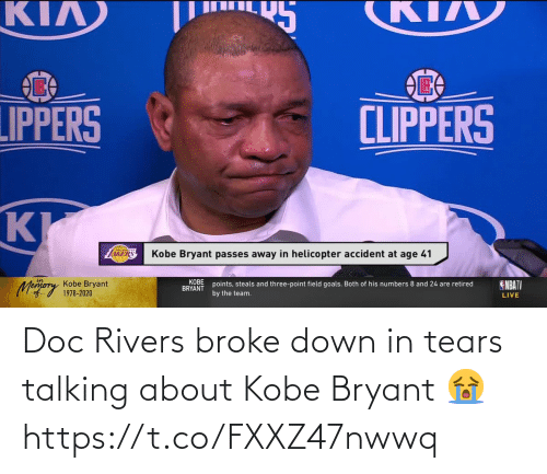 Kobe Bryant: Doc Rivers broke down in tears talking about Kobe Bryant 😭 https://t.co/FXXZ47nwwq