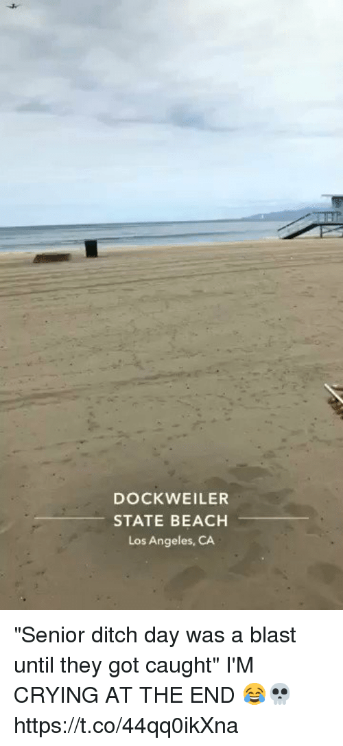 """Crying, Funny, and Beach: DOCK WEILER  STATE BEACH  Los Angeles, CA """"Senior ditch day was a blast until they got caught"""" I'M CRYING AT THE END 😂💀 https://t.co/44qq0ikXna"""