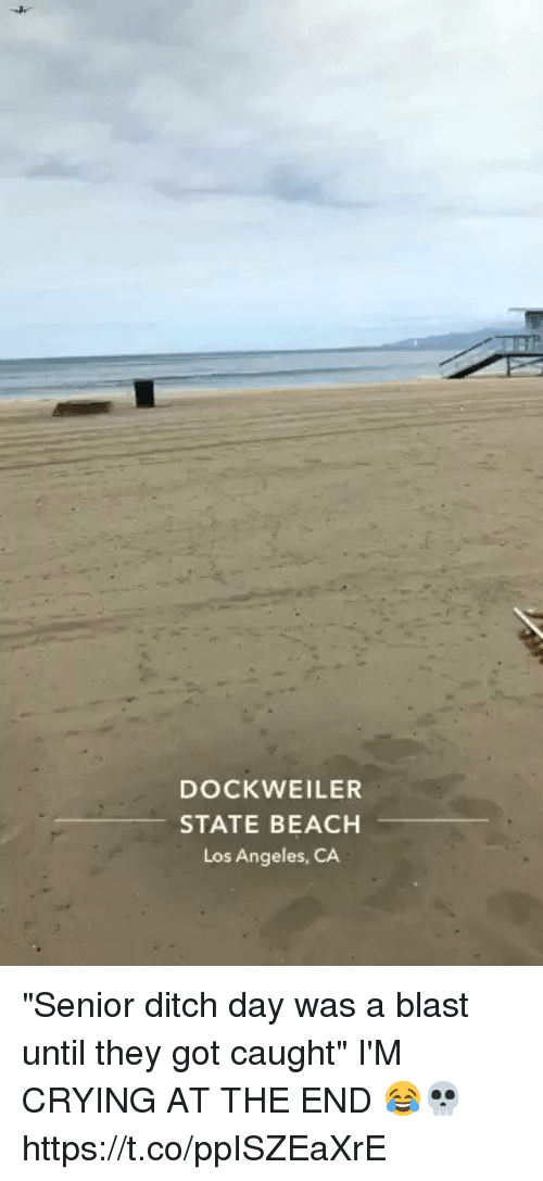 """Crying, Funny, and Beach: DOCK WEILER  STATE BEACH  Los Angeles, CA """"Senior ditch day was a blast until they got caught"""" I'M CRYING AT THE END 😂💀 https://t.co/ppISZEaXrE"""