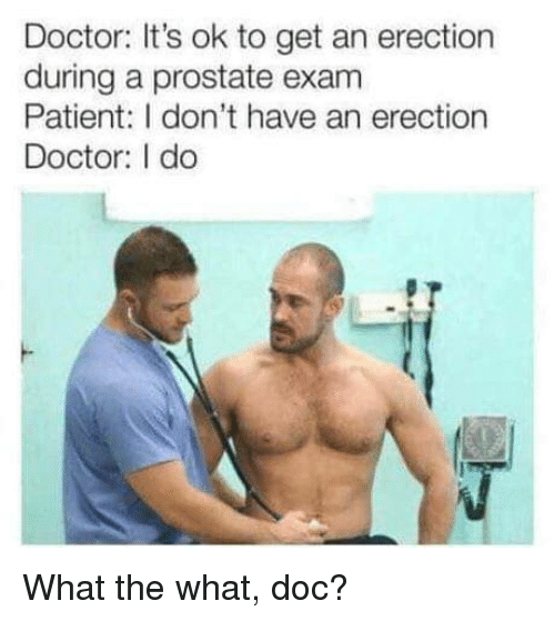 prostate: Doctor: It's ok to get an erection  during a prostate exam  Patient: I don't have an erection  Doctor: I do What the what, doc?