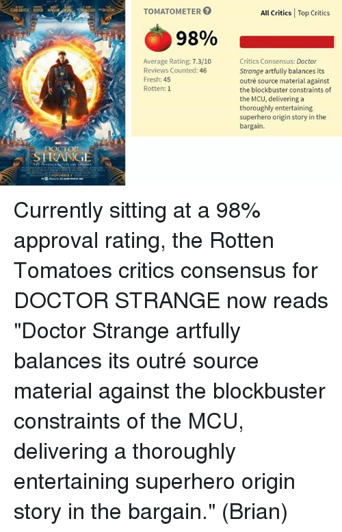 """rotten tomato: DOCTOR  RANGE  TOMATOMETER  98%  Average Rating: 7.3/10  Reviews Counted: 46  Fresh: 45  Rotten: 1  All Critics Top Critics  Critics Consensus: Doctor  Strange artfully balances its  outré source material against  the blockbuster constraints of  the MCU, delivering a  thoroughly entertaining  superhero origin story in the  bargain. Currently sitting at a 98% approval rating, the Rotten Tomatoes critics consensus for DOCTOR STRANGE now reads """"Doctor Strange artfully balances its outré source material against the blockbuster constraints of the MCU, delivering a thoroughly entertaining superhero origin story in the bargain.""""  (Brian)"""