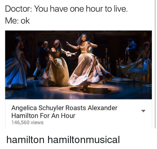 Alexander Hamilton: Doctor: You have one hour to live.  Me: ok  Angelica Schuyler Roasts Alexander  Hamilton For An Hour  146,560 views hamilton hamiltonmusical