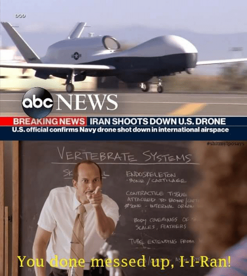 You Done Messed Up: DOD  abc NEWS  BREAKING NEWS IRAN SHOOTS DOWN U.S.DRONE  U.S. official confirms Navy drone shot down in international airspace  #shitmyiposays  VERTEBRATE SYSTEMS  SK  ENDOSKELETON  9ONE/CARTILAGE  CONTRACTILE TISUE  ATTACUED T BONE CART  4ONME  INTERNAL ORL  Bopy caNERIN65 OF  SCALES, FEATHERS  TUBE EXTEND FROM  You done messed up, I-I-Ran!