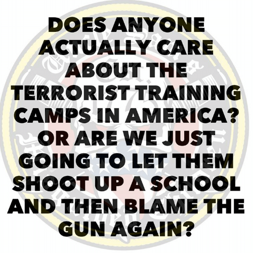 America, School, and Gun: DOES ANYONE  ACTUALLY CARE  ABOUT THE  TERRORIST TRAINING  CAMPS IN AMERICA?  OR ARE WE JUST  GOING TO LET THEM  SHOOT UP A SCHOOL  AND THEN BLAME THE  GUN AGAIN?