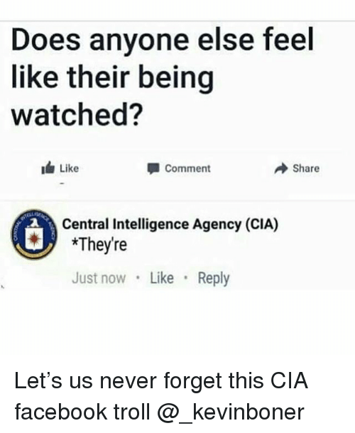 Facebook, Funny, and Meme: Does anyone else feel  like their being  watched?  Like  Comment  → Share  Central Intelligence Agency (CIA)  *They're  Just now Like Reply Let's us never forget this CIA facebook troll @_kevinboner