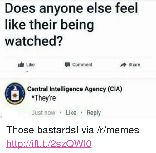 "Memes, Http, and Cia: Does anyone else feel  like their being  watched?  Like  Comment  → Share  Central Intelligence Agency (CIA)  *Theyre  Just now Like Reply <p>Those bastards! via /r/memes <a href=""http://ift.tt/2szQWI0"">http://ift.tt/2szQWI0</a></p>"
