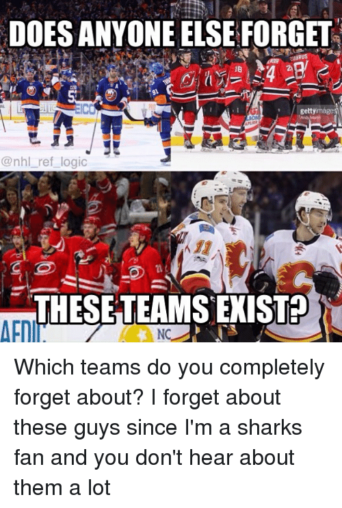 Logic, Memes, and National Hockey League (NHL): DOES ANYONE ELSE FORGET  gettyir  @nhl_ref logic  THESETEAMS EXIST? Which teams do you completely forget about? I forget about these guys since I'm a sharks fan and you don't hear about them a lot