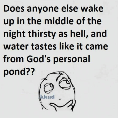 Memes, Thirsty, and The Middle: Does anyone else wake  up in the middle of the  night thirsty as hell, and  water tastes like it came  from God's personal  pond??  kkad