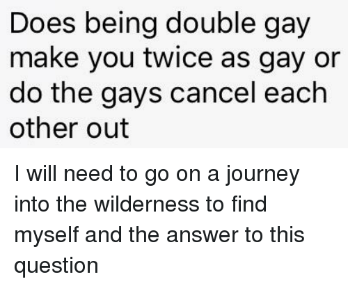 Journey, Reddit, and Answer: Does being double gay  make you twice as gay or  do the gays cancel each  other out