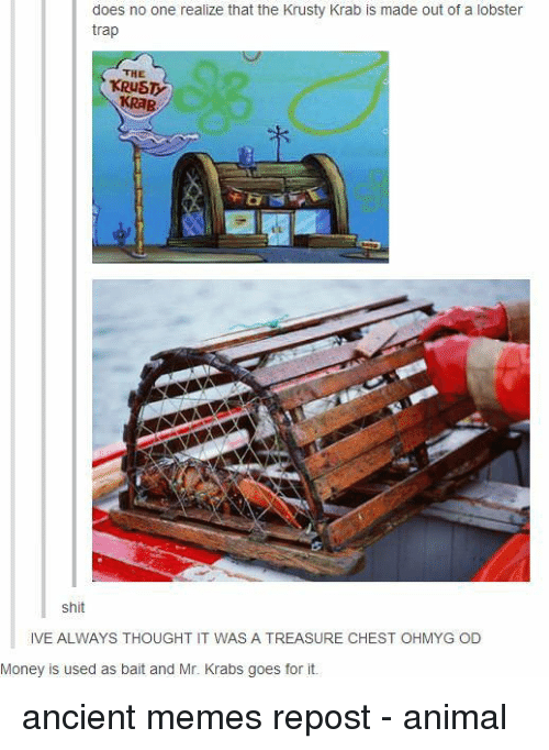 krusty krab: does no one realize that the Krusty Krab is made out of a lobster  trap  THE  KRUST  KRAB  shit  IVE ALWAYS THOUGHT IT WAS A TREASURE CHEST OHMYG OD  Money is used as bait and Mr. Krabs goes for it. ancient memes repost - animal