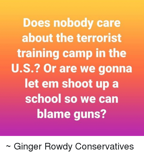 Rowdy: Does nobody care  about the terrorist  training camp in the  U.S.? Or are we gonna  let em shoot up a  school so we can  blame guns? ~ Ginger  Rowdy Conservatives