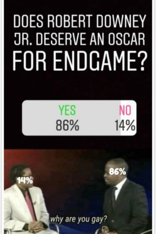 Robert Downey Jr.: DOES ROBERT DOWNEY  JR. DESERVE AN OSCAR  FOR ENDGAME?  YES  86%  NO  14%  86%  14%  why are you gay?