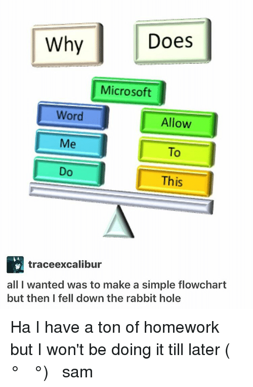 down the rabbit hole: Does  Why  Microsoft  Word  Allow  Me  This  trace excalibur  all I wanted was to make a simple flowchart  but then I fell down the rabbit hole Ha I have a ton of homework but I won't be doing it till later (☞ ͡° ͜ʖ ͡°)☞ ≪sam≫