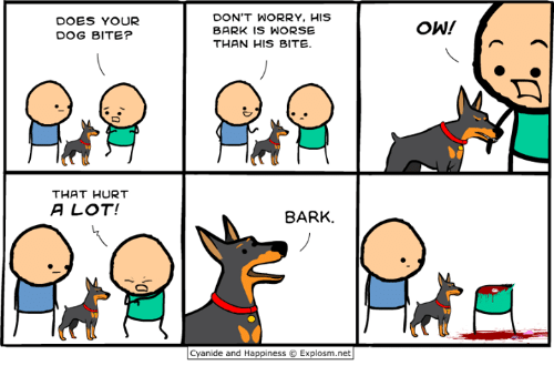 Does Your Dog Bite: DOES YOUR  DOG BITE?  DON'T WORRY, HIS  BARK IS WORSE  THAN HIS BITE.  ˋ冫  THAT HURT  A LOT!  8ARK.  Cyanide and Happiness © Explosm.net