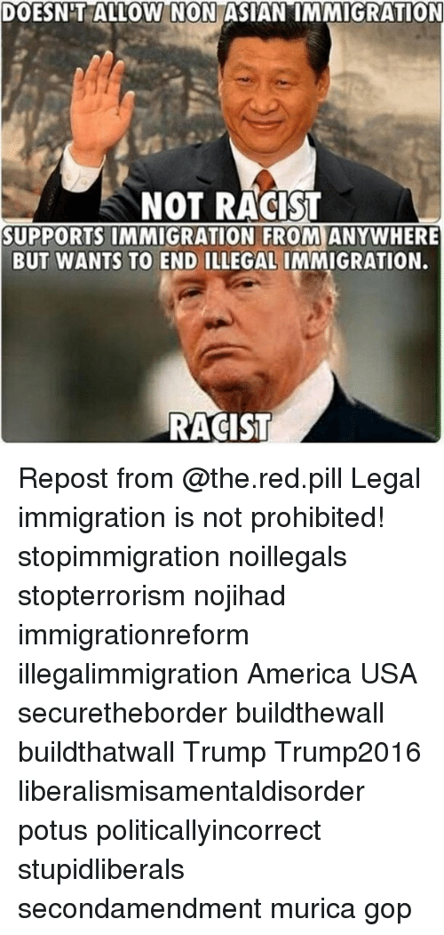 America, Asian, and Memes: DOESNIT  ALLOW  NON  ASIAN  IMMIGRATION  NOT RACIST  SUPPORTS IMMIGRATION FROM ANYWHERE  BUT WANTS TO END ILLEGAL IMMIGRATION.  RACIST Repost from @the.red.pill Legal immigration is not prohibited! stopimmigration noillegals stopterrorism nojihad immigrationreform illegalimmigration America USA securetheborder buildthewall buildthatwall Trump Trump2016 liberalismisamentaldisorder potus politicallyincorrect stupidliberals secondamendment murica gop