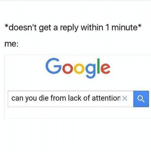 dank: *doesn't get a reply within 1 minute  me  Google  can you die from lack of attention x a