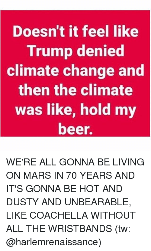 Beer, Coachella, and Memes: Doesn't it feel like  Trump denied  climate change and  then the climate  was like, hold my  beer. WE'RE ALL GONNA BE LIVING ON MARS IN 70 YEARS AND IT'S GONNA BE HOT AND DUSTY AND UNBEARABLE, LIKE COACHELLA WITHOUT ALL THE WRISTBANDS (tw: @harlemrenaissance)