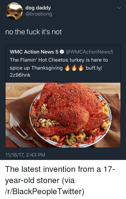 Fuck Its: dog daddy  @broebong  no the fuck it's not  WMC Action News 5 @WMCActionNews5  The Flamin' Hot Cheetos turkey is here to  spice up Thanksgivingbuff.ly/  2z96hnk  11/16/17, 2:43 PM <p>The latest invention from a 17-year-old stoner (via /r/BlackPeopleTwitter)</p>