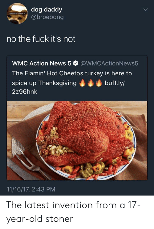 Fuck Its: dog daddy  @broebong  no the fuck it's not  WMC Action News 5 @WMCActionNews5  The Flamin' Hot Cheetos turkey is here to  spice up Thanksgivingbuff.ly/  2z96hnk  11/16/17, 2:43 PM The latest invention from a 17-year-old stoner