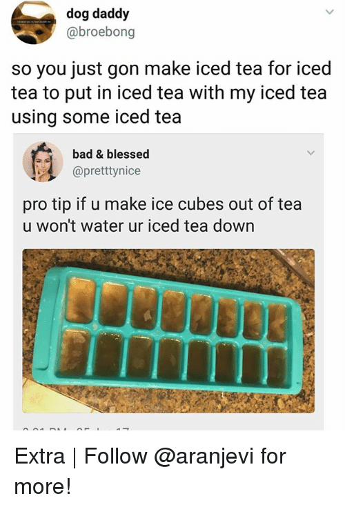 Bad, Blessed, and Memes: dog daddy  @broebong  so you just gon make iced tea for iced  tea to put in iced tea with my iced tea  using some iced tea  bad & blessed  @pretttynice  pro tip if u make ice cubes out of tea  u won't water ur iced tea down Extra | Follow @aranjevi for more!