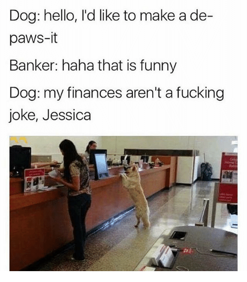 Fucking, Funny, and Hello: Dog: hello, I'd like to make a de-  paws-it  Banker: haha that is funny  Dog: my finances aren't a fucking  joke, Jessica  Rate