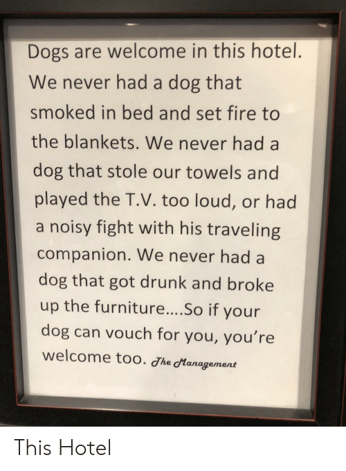 Too Loud: Dogs are welcome in this hotel.  We never had a dog that  smoked in bed and set fire to  the blankets. We never had a  dog that stole our towels and  played the T.V. too loud, or had  a noisy fight with his traveling  companion. We never had a  dog that got drunk and broke  up the furniture....So if your  dog can vouch for you, you're  welcome too. Jhe Management This Hotel