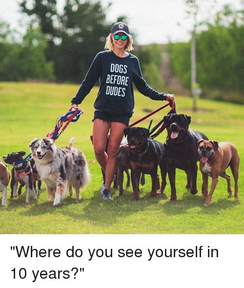 "Dude, Girl Memes, and Dog: DOGS  BEFORE  DUDES ""Where do you see yourself in 10 years?"""