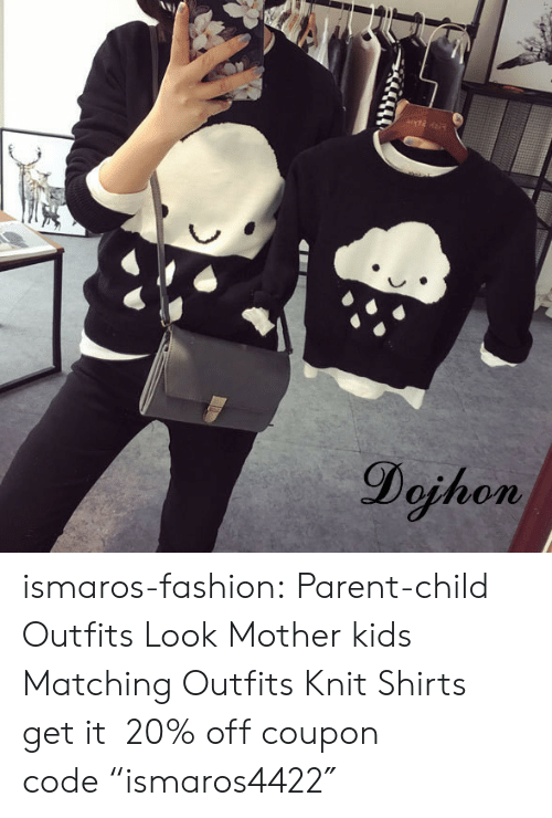 """knit: Dojhon ismaros-fashion: Parent-child Outfits Look  Mother  kids Matching Outfits Knit Shirts get it 20% off coupon code""""ismaros4422″"""