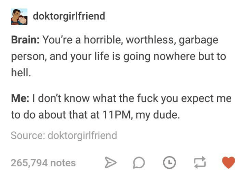 Dude, Fuck You, and Life: doktorgirlfriend  Brain: You're a horrible, worthless, garbage  person, and your life is going nowhere but to  hell.  Me: I don't know what the fuck you expect me  to do about that at 11PM, my dude.  Source: doktorgirlfriend  265,794 notes D