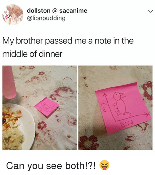 The Middle, Relatable, and Brother: dollston sacanime  lionpudding  My brother passed me a note in the  middle of dinner Can you see both!?! 😝
